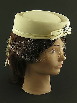 Vintage Felt Pillbox Hat with Rhinestones and Net Beige 1940's