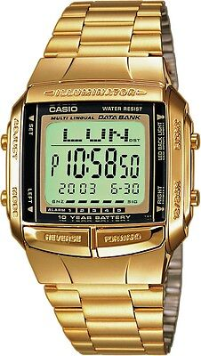 New Casio DB360G-9A Stainless Gold Tone Digital Data bank Unisex Watch
