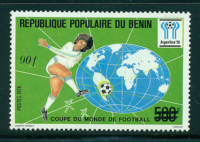 Benin Scott #595 MNH 90fr on 500fr #399 World Cup Soccer CV$13+