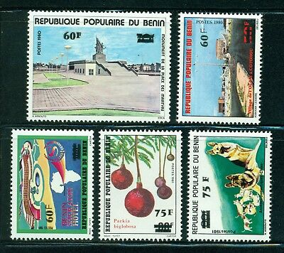 Benin Scott #539-543 MNH SCHG 1983 MAP Monuments Dogs CV$10+