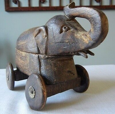 Vintage Wooden Hand Carved Elephant Box Toy