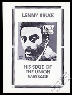 1968 Lenny Bruce photo Thee Essential album release vintage print ad