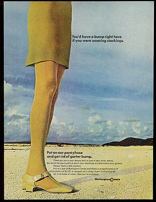 1969 Burlington Cameo pantyhose woman in skirt on beach photo vintage print ad