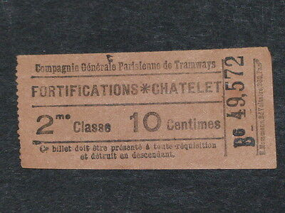 [COLLECTIONS] TICKET de TRAMWAY ANCIEN  FORTIFICATIONS - CHATELET Billet Railway