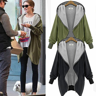 New Women's Ladies Hoodie Coat Jacket Hooded Zipper Sweatshirt Outwear Cardigan