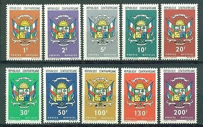 Central African Republic Scott #O1-O10 MNH Coat of Arms CV$17+