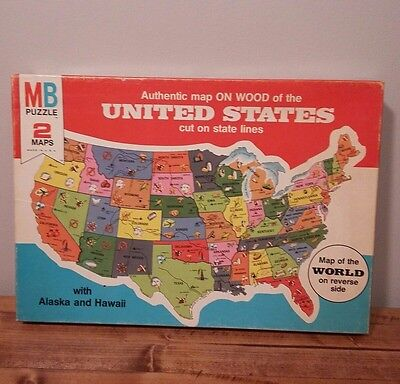 VINTAGE #4264 AUTHENTIC Wooden Puzzle Map of United States ...