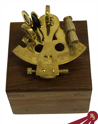 "3"" BRASS SEXTANT - with Wooden Box - NAUTICAL ASTROLABE"