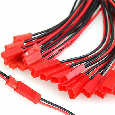 10Pairs / 100mm Connector Plug Cable Line Male & Female For RC BEC Lipo Battery