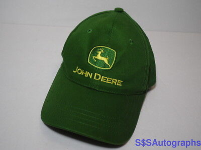 JOHN DEERE Logo Tractor Farm ADVERTISING Green Yellow YOUTH ADJUSTABLE HAT 4-10