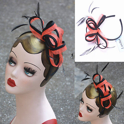 Womens Sinamay Fascinator Cocktail Hat Church Party Wedding Kentucky derby A353