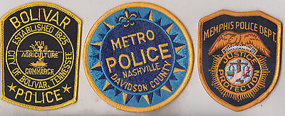 Bolivar, Memphis & Nashville TN Police patches