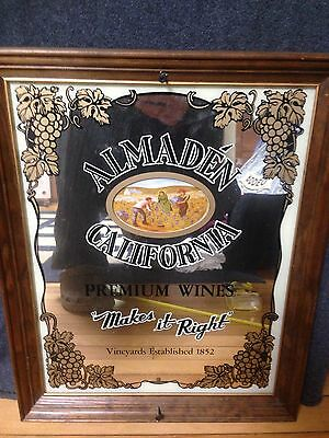 "Almaden California Premium Wines Framed Mirror 21""x16"""