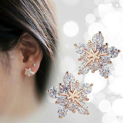 1Pair Women Crystal Rhinestone Ear Stud Snow Flower Fashion Earrings Jewelry