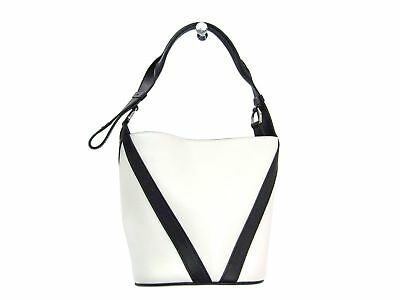 Auth LOUIS VUITTON V Bucket GM Shoulder Bag Leather White/Black M50121 BF303354