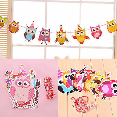 Cartoon Owl Garland Birthday Banners Party Decor Baby Showers Room Craft Hanging