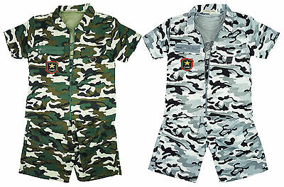 Boys Army Camo 3 Piece Zip Jacket Vest Top & Shorts Outfit Set 2 to 10 Years