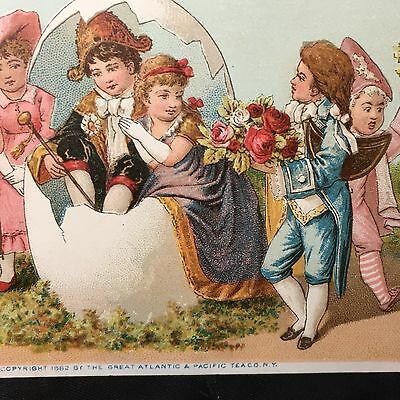 Antique Vintage Easter Victorian Trade Cards@1880S Children W Easter Egg