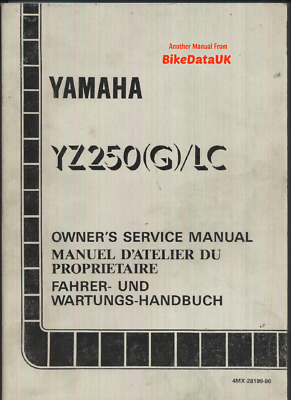 Genuine Yamaha YZ250 G LC (1994-1995) Factory Owners Shop Manual YZ 250 4MX 2T