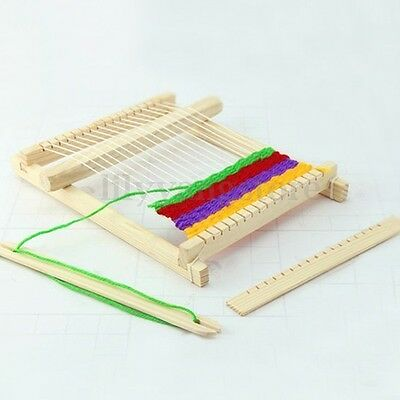New Traditional Wooden Weaving Toy Loom with Accessories Childrens Craft Box