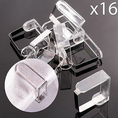 16Pc CLEAR TABLE CLOTH HOLDER SKIRT CLIPS Party Tableware Durable Plastic Grips