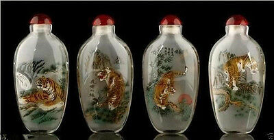 Wonderful Inside Painting Chinese Tiger Glass Snuff Bottle