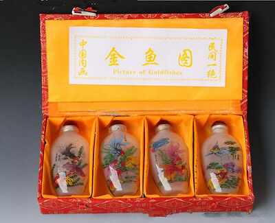 4PCS Chinese workmanship PeKing glass Inside painting Bird snuff bottle
