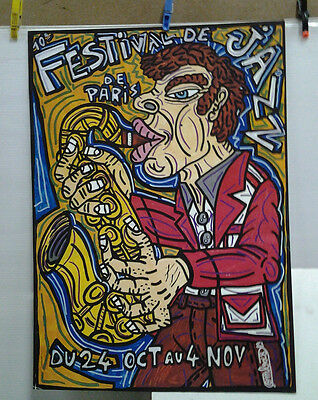 Affiche Originale Ancienne  Festival De Jazz Paris 1989 Combas