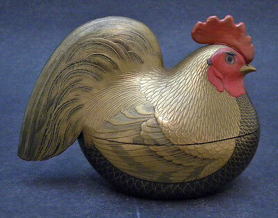 Magnificent Japanese Museum quality Meiji Wood Lacquer Okimono/Box - Rooster