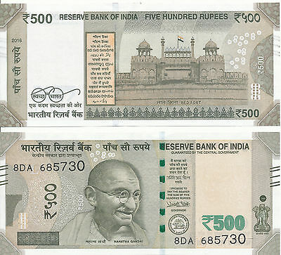 Indien / India - 500 Rupees 2016 (letter L) UNC - Pick New