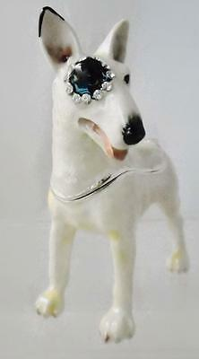 English Bull Terrier w Bulls Eye Patch Trinket Box Swarovski Crystals Rucinni