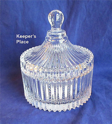 Mikasa Diamond Fire Covered Crystal Candy Dish Bowl Trinket Box Japan New No Box