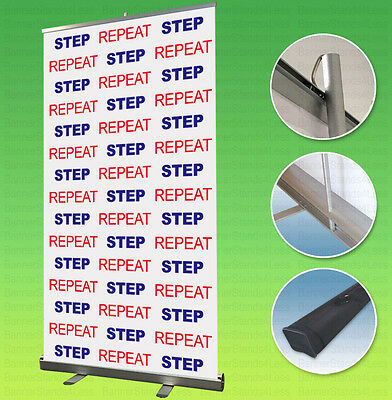 40x79 Retractable Banner Stand Step Repeat Custom Backdrop Display Free Printing