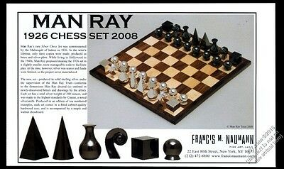 2008 Man Ray 1926 modern silver chess set pieces board photo vintage print ad