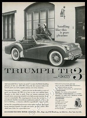 1958 Triumph TR3 tr-3 car photo Handling Like This is Pure Pleasure vintage ad