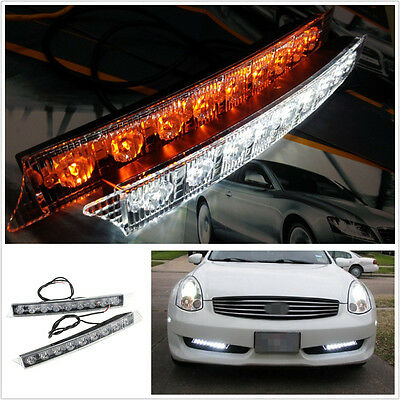 12V 9-LED Waterproof Dual Color Car Off-Road White DRL Amber Turn Signal Lights
