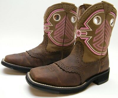 Ariat Fatbaby Freedom Brown Leather Square Toe Cowboy Western Boots Sz 6.5~1/2 B