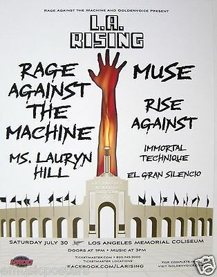 """Rage Against The Machine, Rise Against, Muse """"l.a. Rising"""" 2011 Concert Poster"""