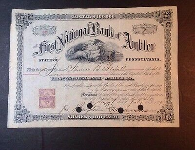 Stock Certificate 1st National Bank Ambler, PA 1899 (17mar12)