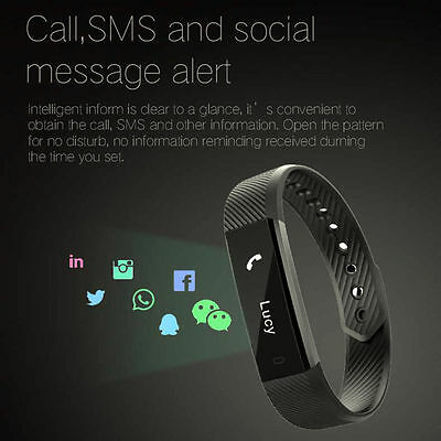 ID115 Smart Bluetooth Wristband Bracelet Activity Tracker Pedometer iOS Android