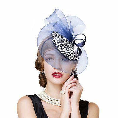Womens Sinamay Fascinator Cocktail Hat Wedding Kentucky Derby headband T244