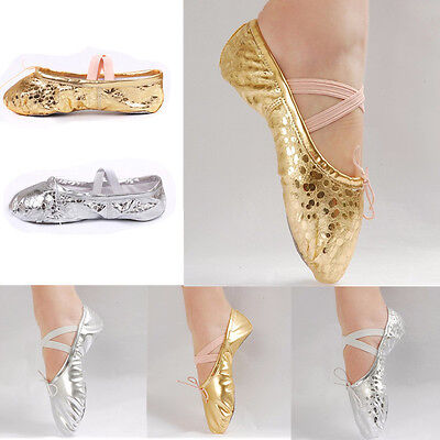 Gold/Silver New Women Girl Ballet Pointe Gymnastics Sequins Leather Dance Shoes