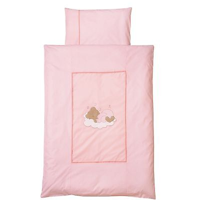Easy-Baby Bettwäsche 80x80 / 35x40 cm  Sleeping bear rose 415-82 NEU
