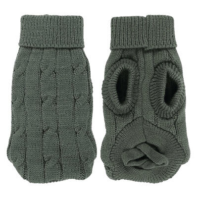 Pet Chihuahua Twisted Knit Ribbed Cuff Turtleneck Apparel Sweater Gray Size 6