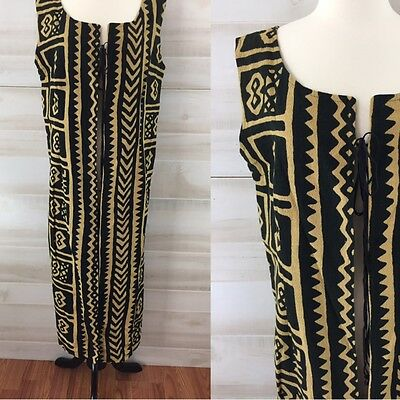 Vintage 90s linen beige black tribal geometric long duster vest boho hippie L