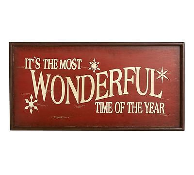 POTTERY BARN It's the Most Wonderful Time of The Year Christmas wood sign