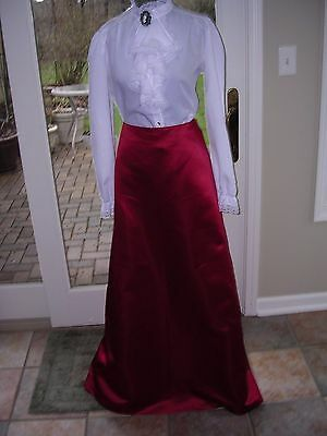 #89 WOMENS BILL LEVKOFF LONG RED SKIRT~VICTORIAN COSTUME M TALL sz (12)