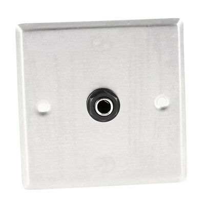 """Silver Tone Single 1/4"""" Female Socket Audio Connector Wall Mount Plate Panel"""