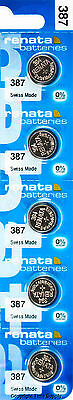 5pc Renata 387S 387 Watch Battery Bulova Accutron 214 With SPACER RING 0%MERCURY