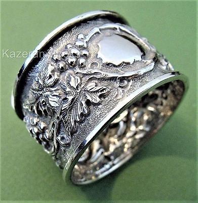 Antique Victorian Solid Sterling Silver Fruit Embossed Napkin Ring Thomas Hayes